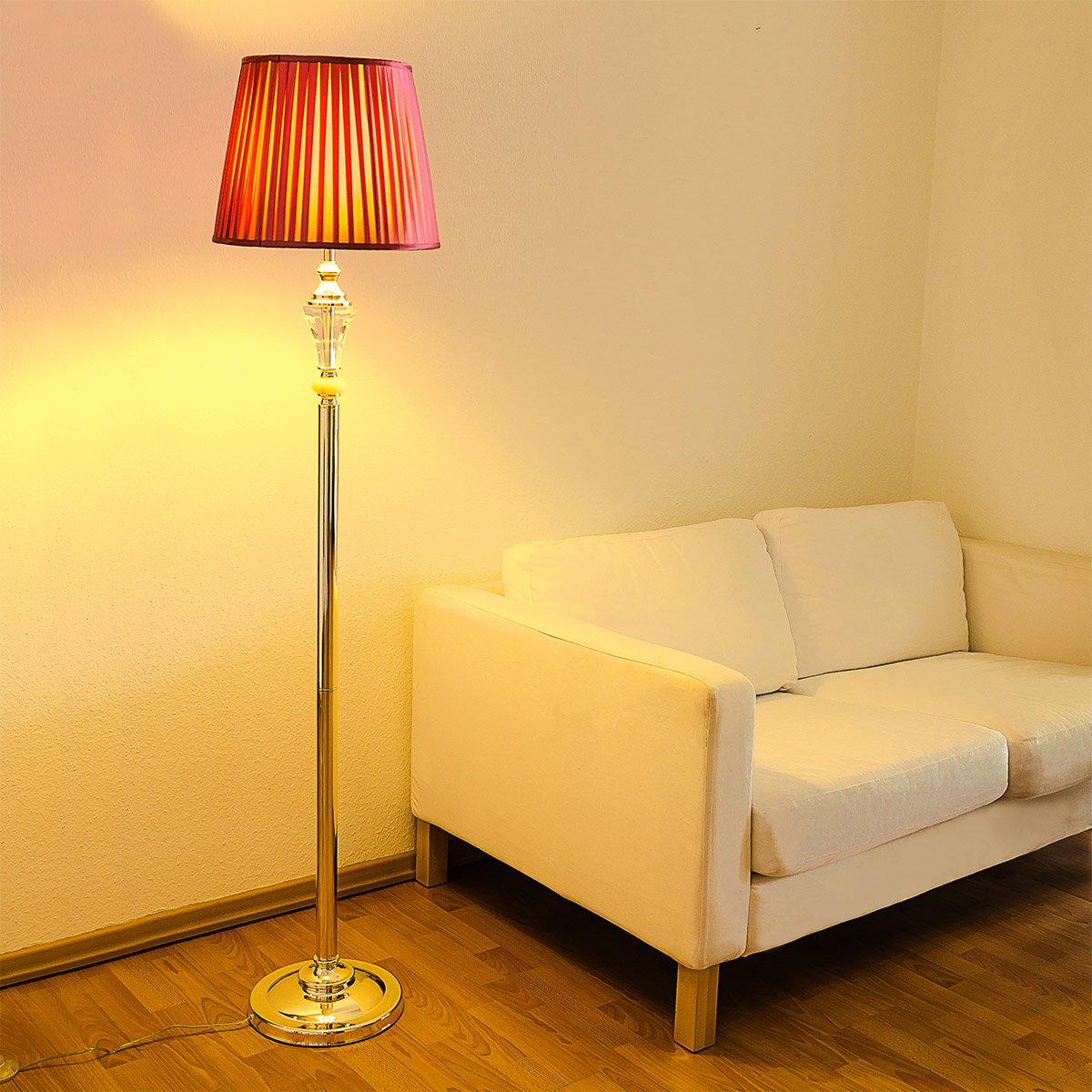Relaxdays Lampadaire Liseuse Avec Abat Jour En Verre Lampe Sur Pied