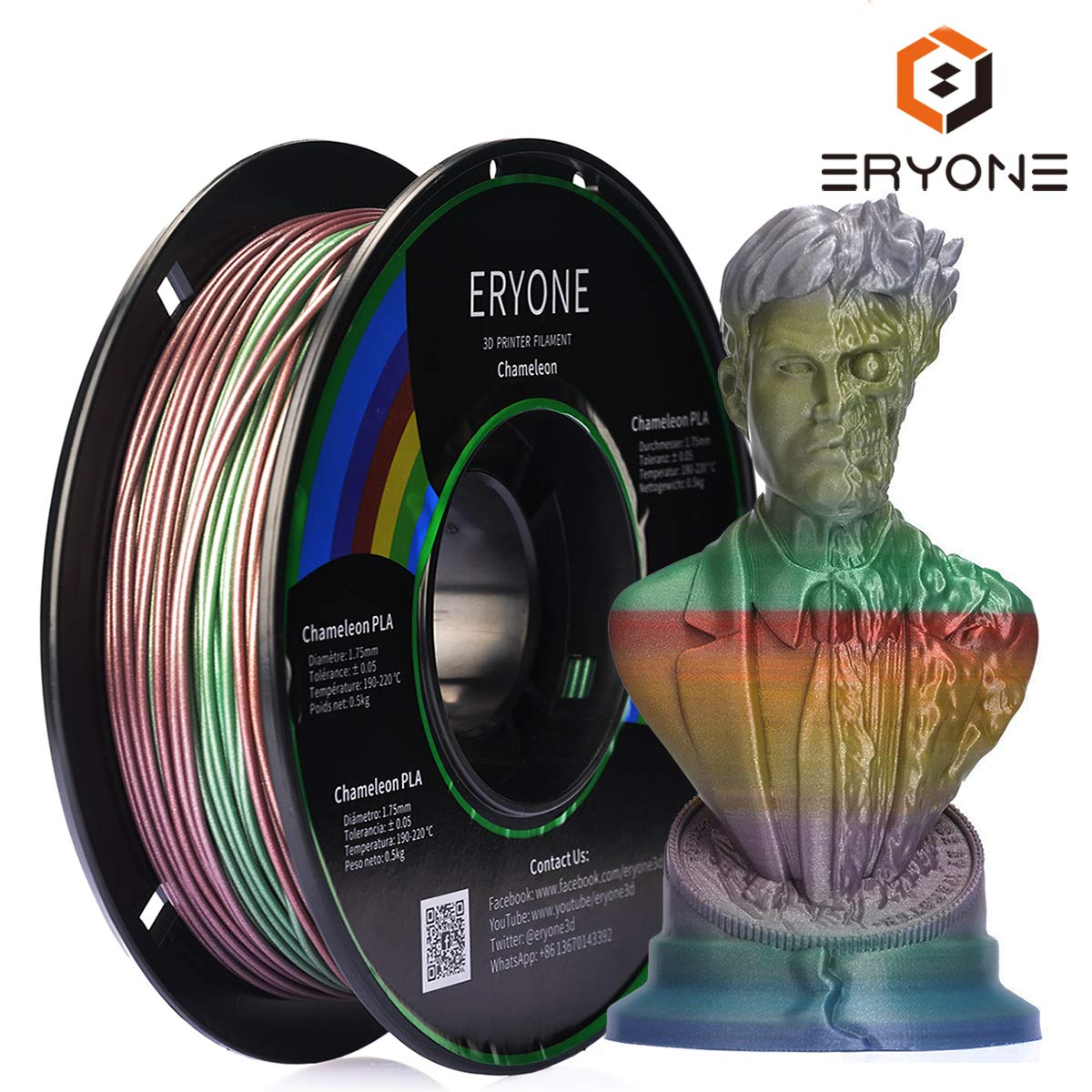 1.75mm Anet 3D Printer ABS Filament Dimensional Accuracy 0.03mm 0.5kg//roll Black