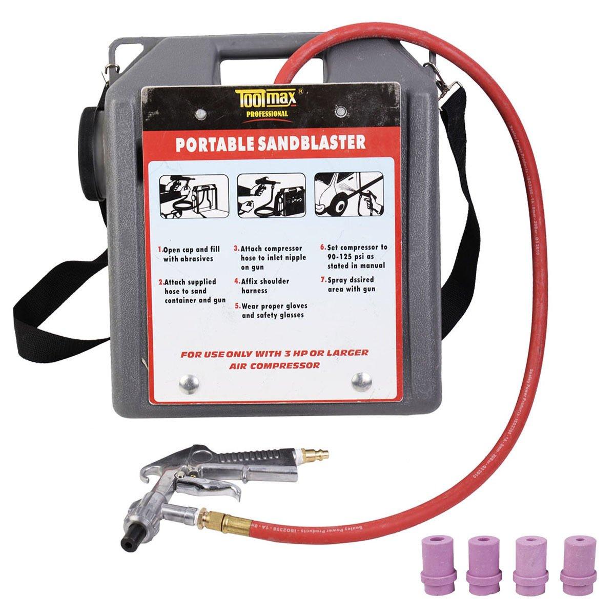 30 lbs Portable Handheld Air Sandblaster kit Tools Blasting Gun Hose w/4 Nozzles