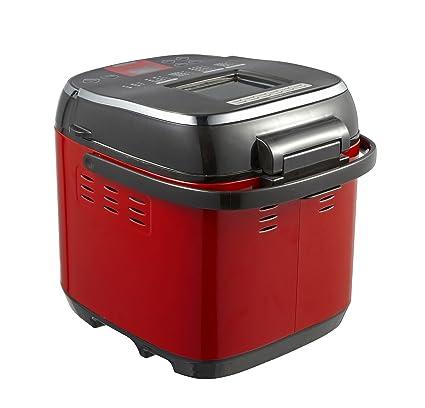 GCCI Máquina de Pan Multifuncional Máquina de Pan Casero Yogur Y Cara Automática Inteligente,rojo