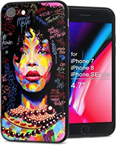 XIX Apple iPhone 7 Case Apple iPhone 8 Case Apple iPhone SE 2020 case African American Afro Girls Women Slim Fit Shockproof Bumper Cell Phone Accessories Thin Soft Black TPU Protective (01)