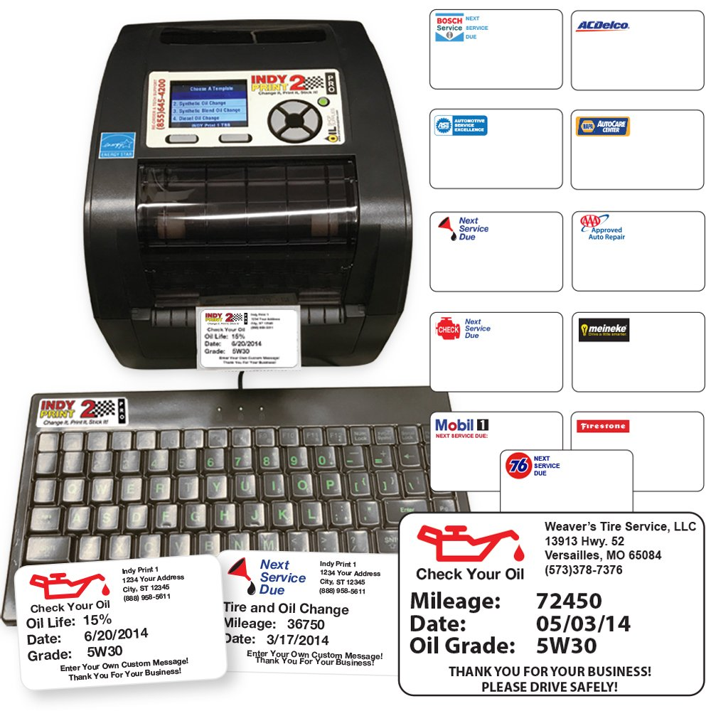 Oil Change Reminder Printer System Kit W 1000 Automatic Headlight Stickers Ink Ribbon Office Products
