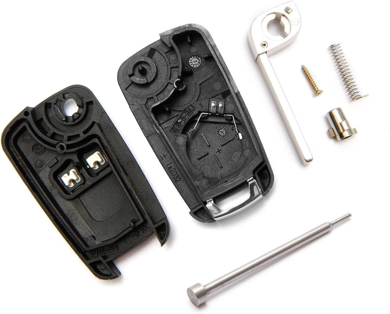 Surepromise 2 X 2 Tasten Fernbedienung Klappbar Schlüsselgehäuse Ersatz Ungeschnittene Klinge Mit Werkzeug Zum Entfernen Auto