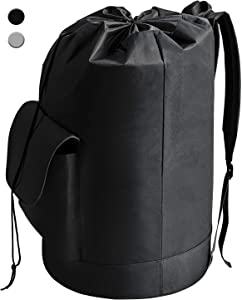 YOUDENOVA Laundry Bag Backpack with Pocket, Waterproof Freestanding Black Hanging Laundry Hamper with Padded Adjustable Shoulder Straps for College Dorm, Travel, Camping, Laundromat Oxford 16x30 Inch
