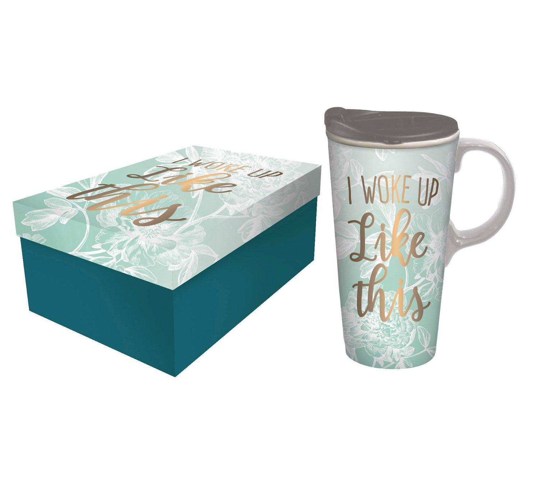 Cypress Home I Woke Up Like This Metallic Ceramic Travel Coffee Mug with Gift Box, 17 ounces
