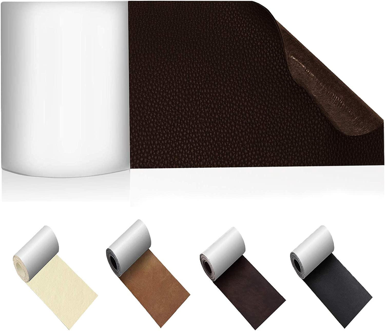 Leather Repair Patch, Leather Tape, Self-Adhesive Leather Patches for Couch, Sofa, Furniture, Car Seat, Jacket   No Heat Required Leather Patch 3 x 62 inch -Dark Brown