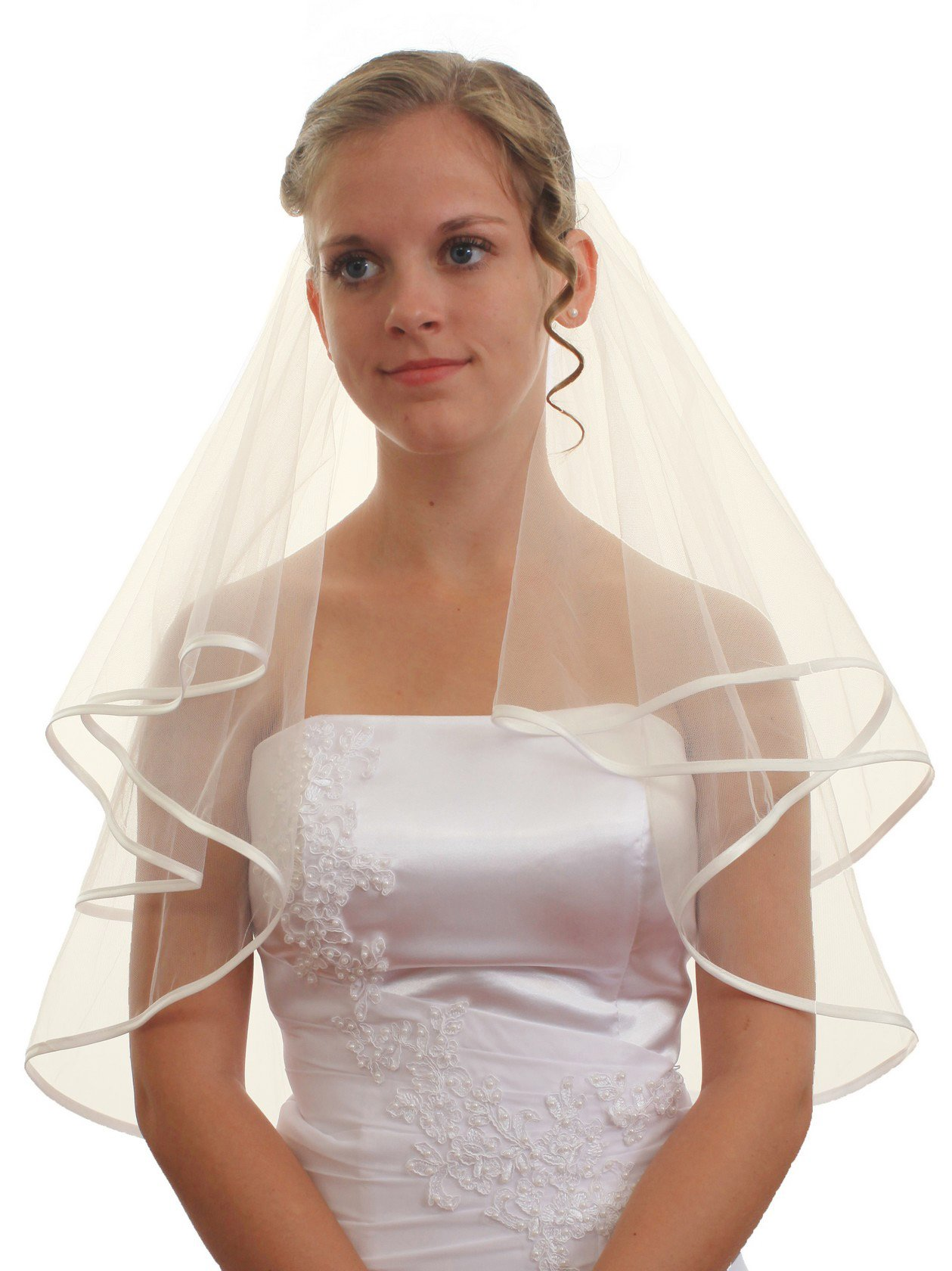 SparklyCrystal 2T 2 Tier 1/4'' Ribbon Edge Bridal Wedding Veil - Ivory Shoulder Length 25'' VC6B1