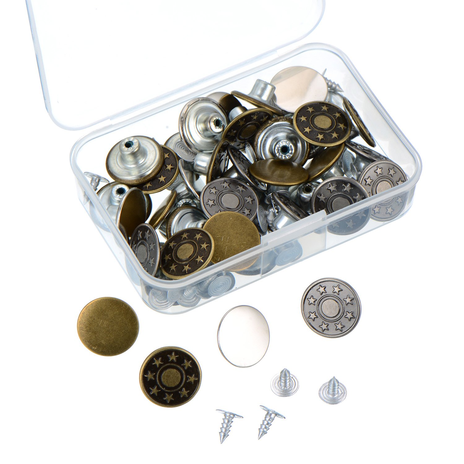 40 Sets Jeans Buttons Metal Tack Button Snap Button for Jeans with Storage Box, 2 Patterns, Bronze and Silver Color Outus
