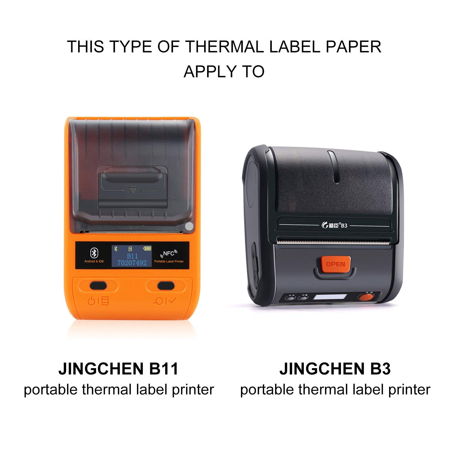 """JINGCHEN Thermal Label Paper, Print with B11/B3, Widely Used in Inventory/Food/Supermarkets/Clothing & Shoes & Hats, Label Printing, 1.57""""x1.18"""", 230 Labels/Roll by JINGCHEN (Image #6)"""