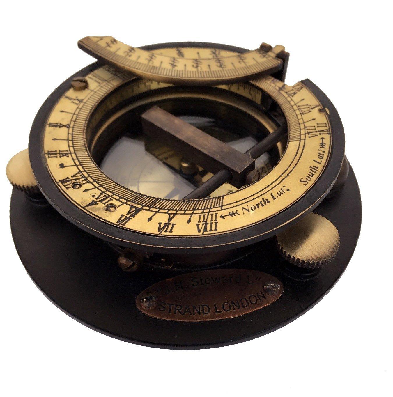 U.S Handicrafts Vintage Portable Gilbert Sundial Compass Adjustable Gnomon Antique Instrument 1115