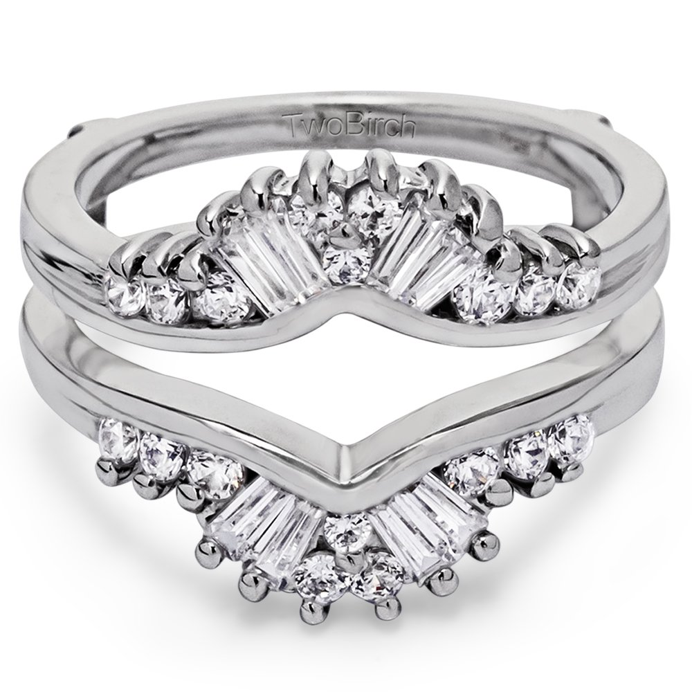 TwoBirch 0.76 ct. Cubic Zirconia Fancy Style Chevron Jacket Ring in Sterling Silver (3/4 ct. twt.)