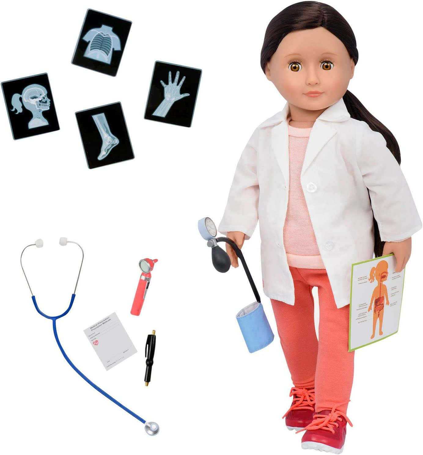 Our Generation 18 Inch Doctor Doll Deluxe Set, Nicola, Medical Accessories, Stem