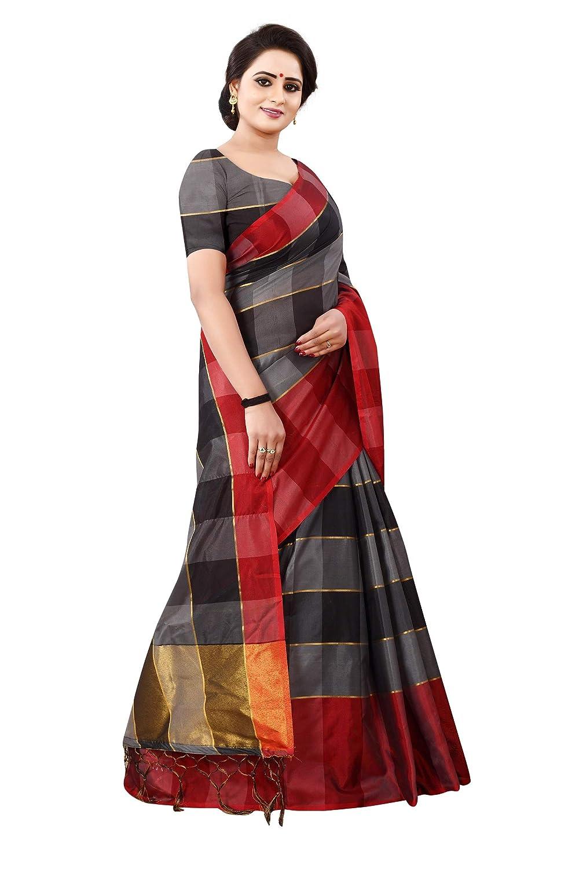 5488a8395652d Shree Ram Krishna Soft-Silk Plain Saree With Blouse Piece Material(Black