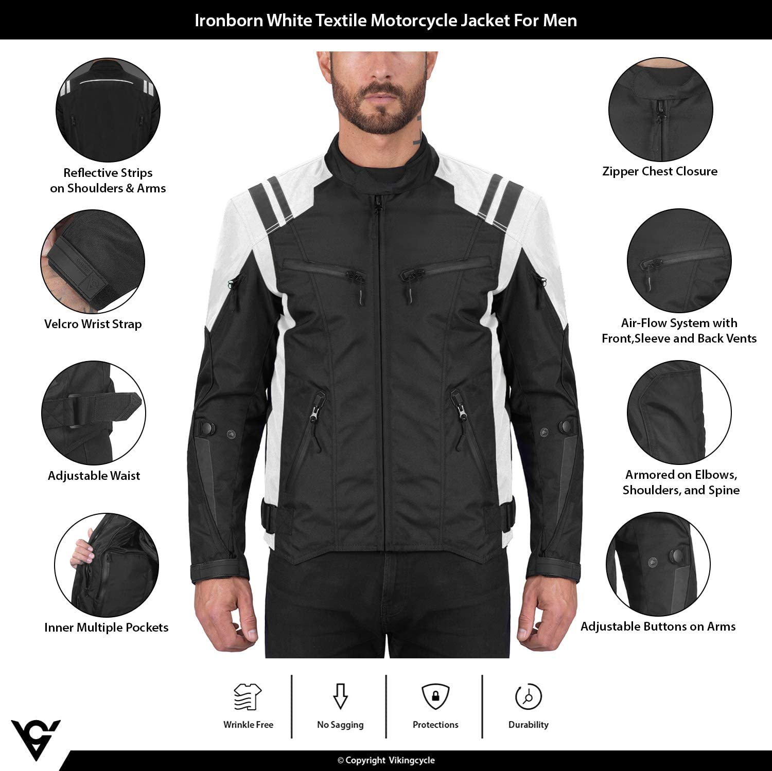 Viking Cycle Ironborn Protective Textile Motorcycle Jacket for Men Breathable Waterproof CE Approved Armor for Bikers White, XXXX-Large