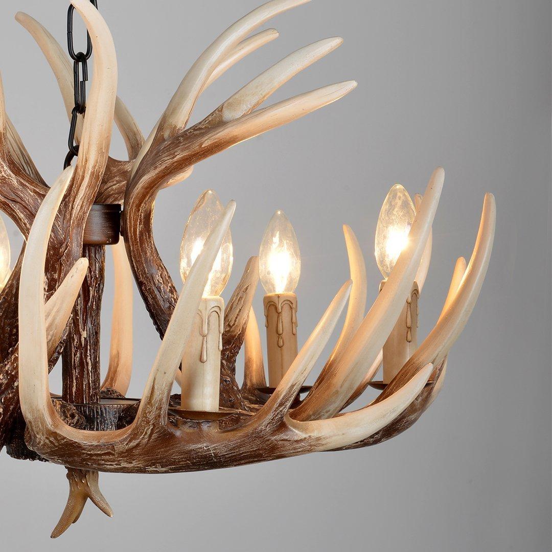 Effortinc vintage style resin deer horn antler chandeliers 6 lights effortinc vintage style resin deer horn antler chandeliers 6 lightsbulbs not included amazon arubaitofo Image collections