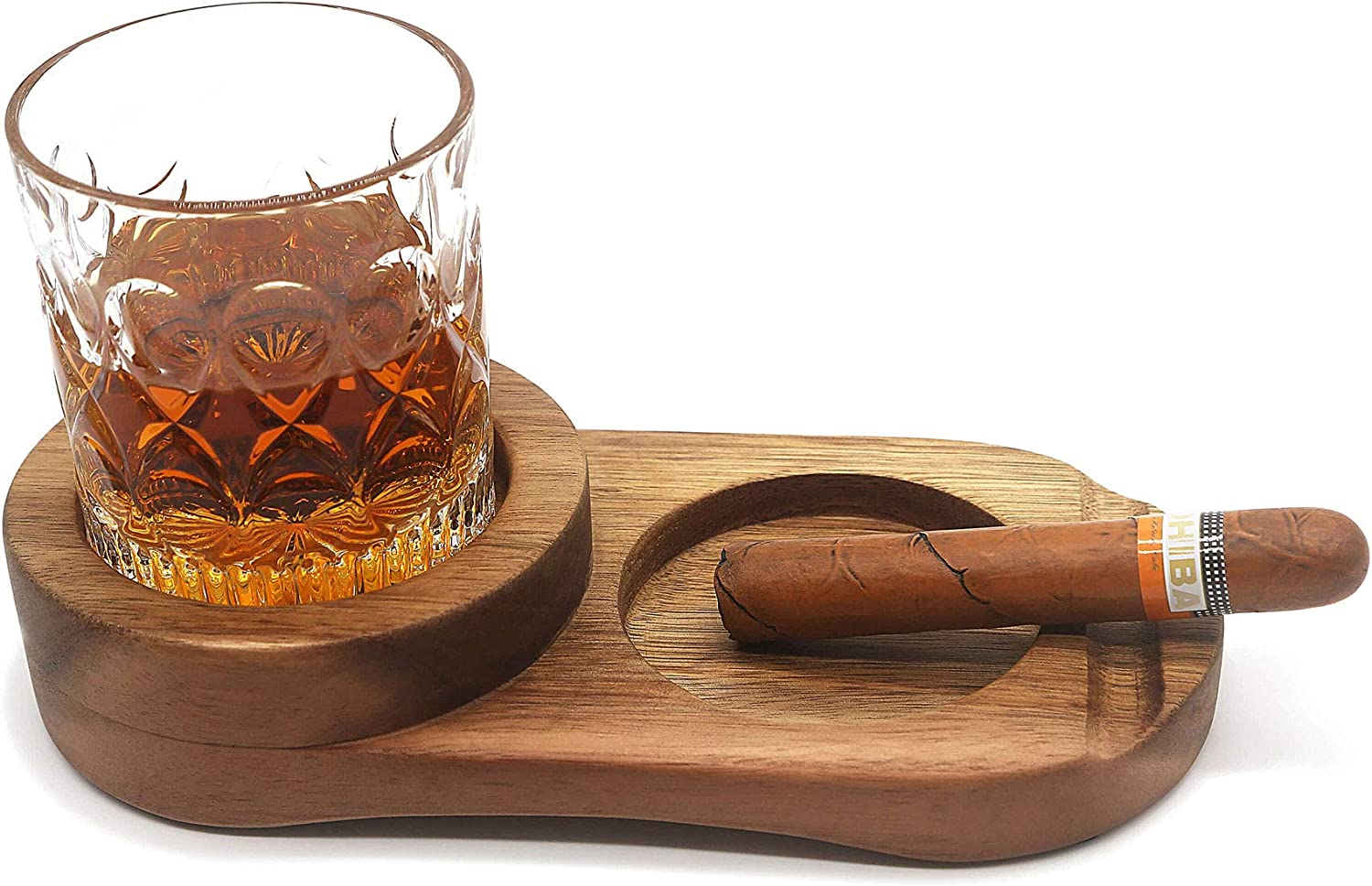 Rustic Wooden Cigar Ashtray, Whiskey Glass Tray With Cigar Holder, Slot to Hold Cigar, Whiskey Accessory Set, A Great Decor for Home, Office or Bar, Great Gift for Men