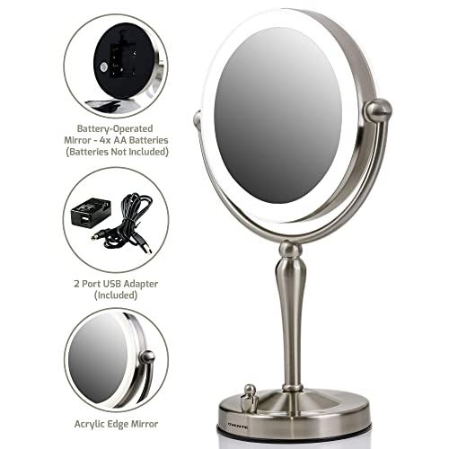 Ovente Double Sided Table Top Makeup Vanity Mirror 7.5 Inch 1X with LED Lights, 10X Magnification, and 360 Rotation. Option of 4 AA Batteries or USB Adapter Operated Nickel Brushed MKT75BR1X10X