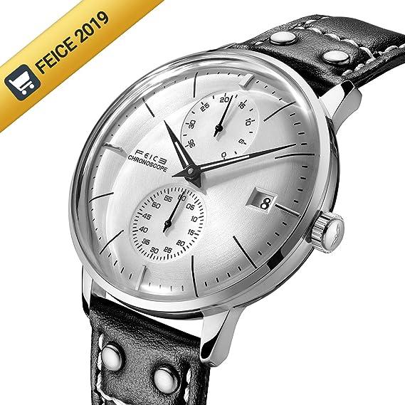 Relojes para Hombre FEICE Relojes Mecánicos Automáticos de Pulsera Reloj Unico Espejo Curvo con Esfera Pequeña Multifunciones Resistente al Agua FM212: ...