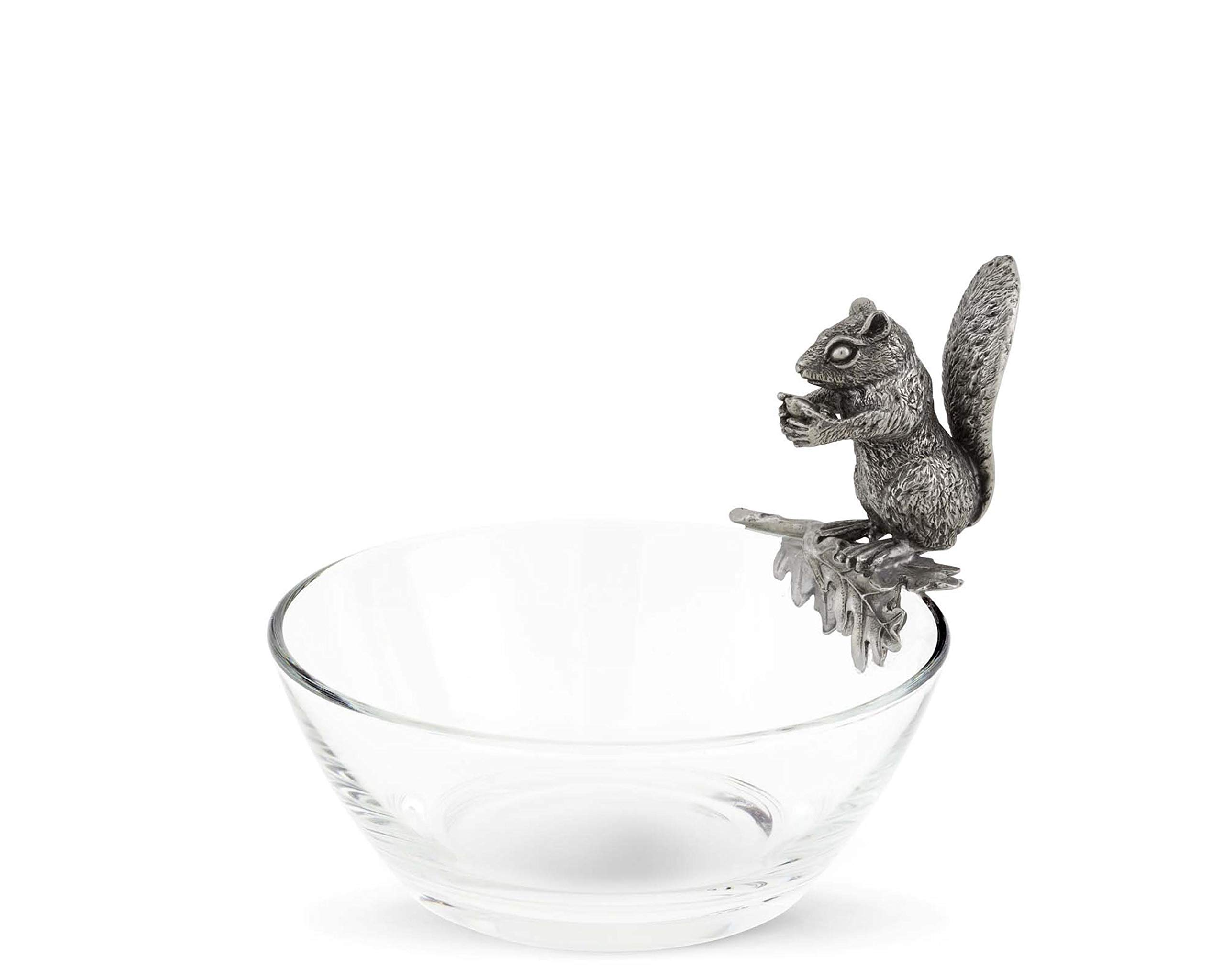 Vagabond House Glass Nut Bowl with Pewter Perched Squirrel 6'' Diameter x 5.5'' Tall
