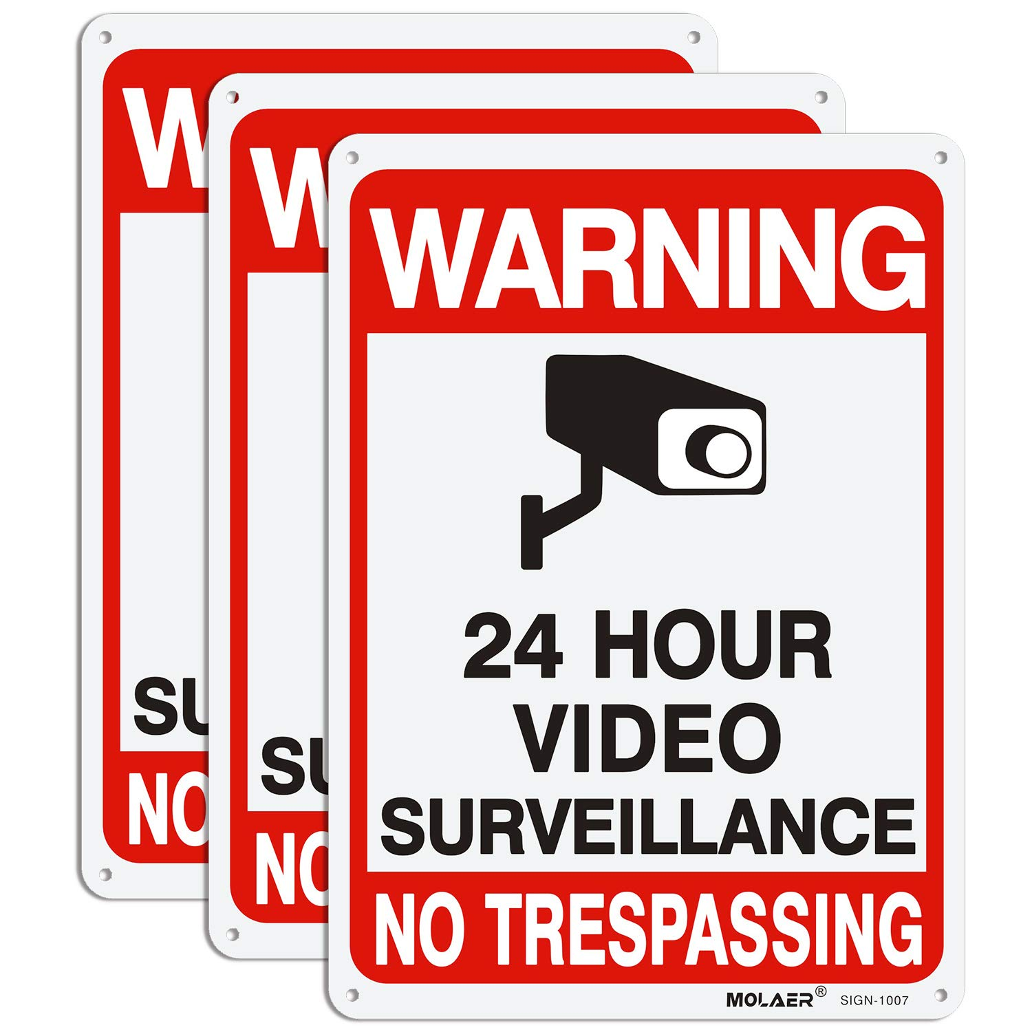 """Video Surveillance Sign, MOLAER 3-Pack No Trespassing Signs, 10"""" x 7"""" UV Printed Waterproof Reflective 40 Aluminum Material, for Outdoor Security Camera Warning"""