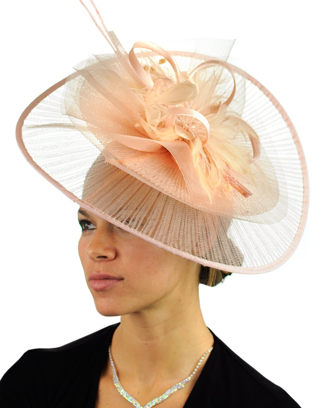C.C Cocktail Fashion Sinamay Fascinator Hat Feather & Flower Design S102450, Champagne