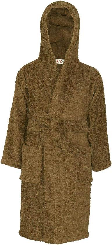 Albornoz con capucha para niños y niñas, de algodón suave, de rizo suave, de 3 a 13 años - Marrón - 2-3 años: Amazon.es: Ropa y accesorios