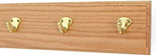 """product image for Oak Wall Mounted Coat Rack with Solid Brass Singular Style Hooks 4.5"""" Ultra Wide (15"""" x 4.5"""" with 3 Hooks, Natural)"""