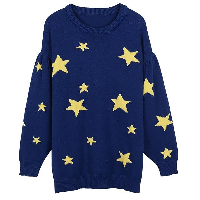 VB Women Sweater tejer el cuello redondo manga larga Linterna ...