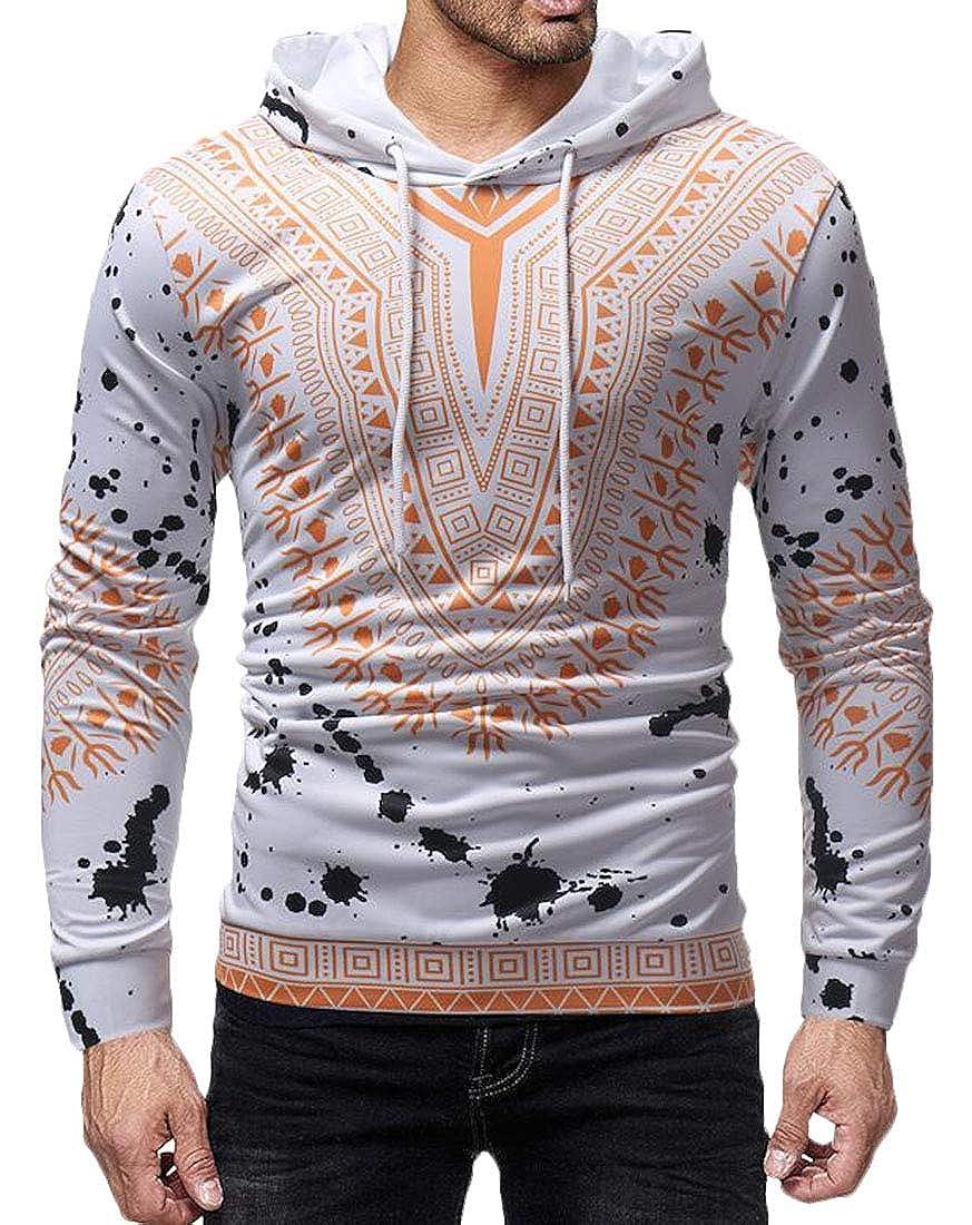 Fllay Mens Stylish Dashiki African Print Hooded Long Sleeve Pullover Sweatshirt Hoodie