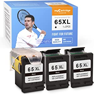 myCartridge PHOEVER Remanufactured Ink Cartridge Replacement for HP 65XL 65 XL Recharge for DeskJet 3720 3722 3723 3755 2655 3752 2652 3758 2624 Envy 5055 5058 5052 (Print Head+Cartridges, 3-Black)