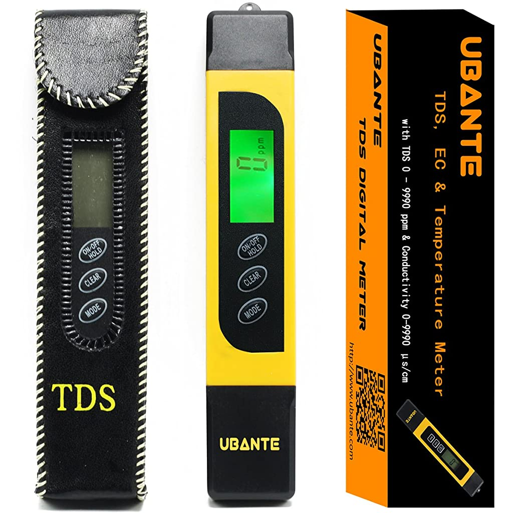 UBANTE Professional Quality TDS, EC & Temperature Meter, Water Quality Test Meter,0-9990ppm.Accurate and Reliable Water Test Meter. Ideal for Drinking Water, Aquariums. Premium Protective Leather Case