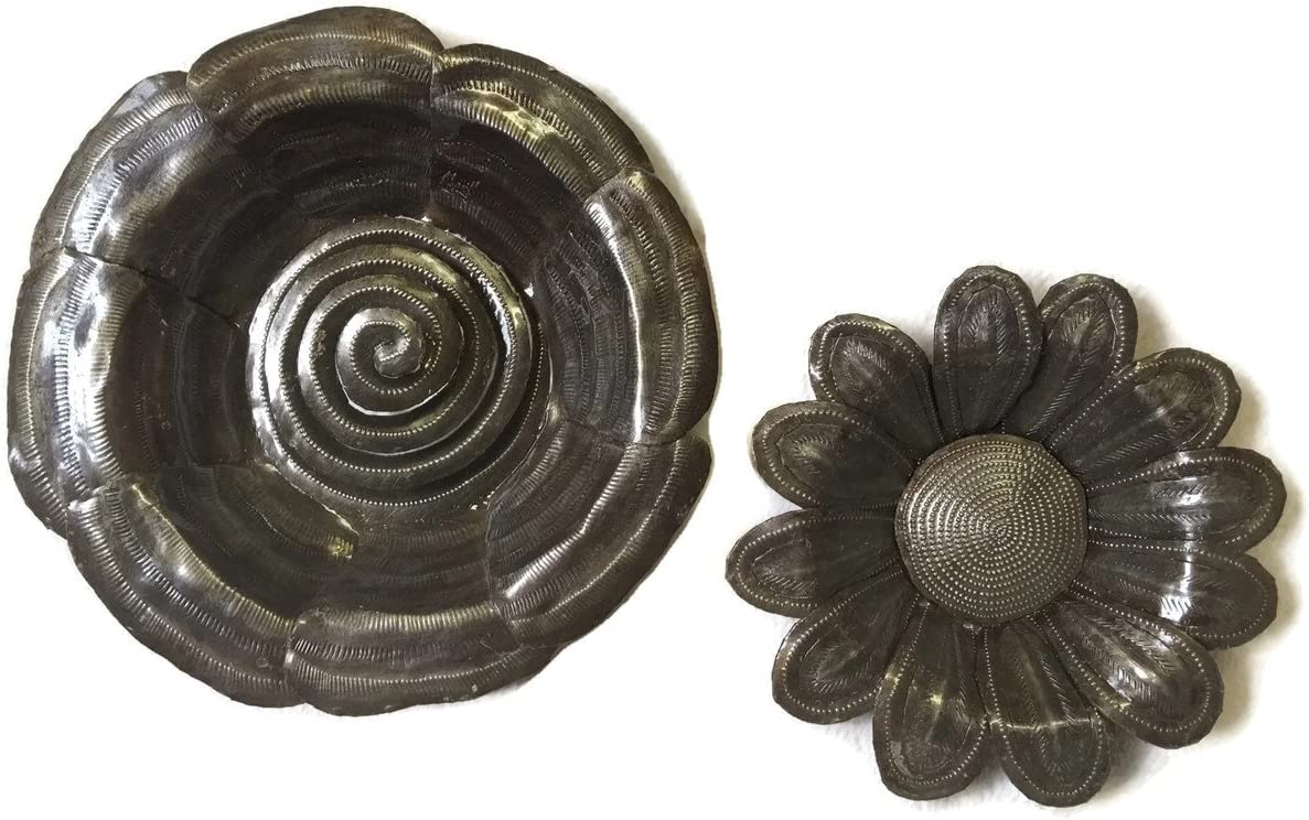 Metal Flowers Handmade in Haiti from Recycled Oil Drums, Set of 2 , 7 and 9, Wall Decor, Plaques