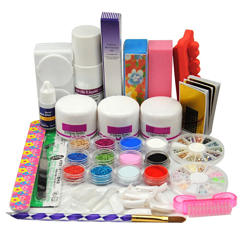 Coscelia 6 Color Acrylic Powder Glitters Liquid Acrylic Nial Kits Nail Art Manicure Set