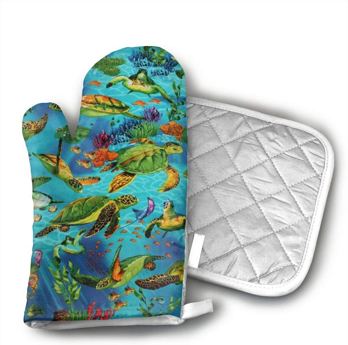 Wiqo9 Sea Turtles Swimming Underwater Ocean Fish Oven Mitts and Pot Holders Kitchen Mitten Cooking Gloves,Cooking, Baking, BBQ.