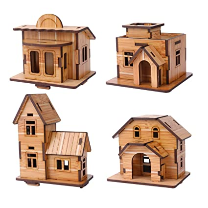 Zosen 3d Wooden Puzzle Mini House Model Educational Toys 3d Puzzle Gift For Children 4 Pieces