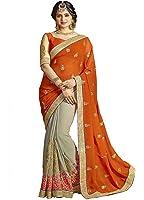 Indian E Fashion Women's Faux Georgette party wear Fancy Saree With Blouse Piece (GLORYORANGE-sarees for women party wear_Orange)
