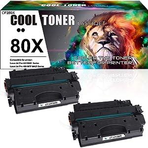 Cool Toner Compatible Toner Cartridge Replacement for HP 80X CF280X 80A CF280A for HP Laserjet Pro 400 M401A M401D M401N M401DN M401DNE M401DW, Laserjet Pro 400 MFP M425DN Laser Ink Printer Black- 2PK