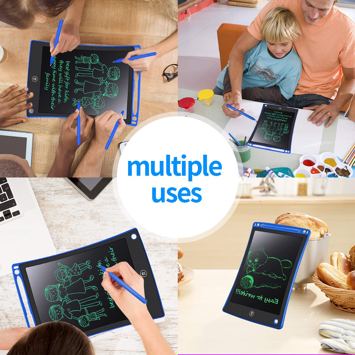 Fridge or Family Memo White MYMAHDI LCD Writing Tablet School,Office Electronic Drawing /& Writing Board 8.5 inch Doodle Board with Smart Writing Stylus for Kids Gifts