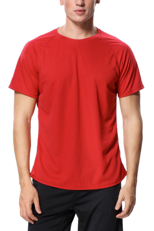 Charmo Mens Short Sleeve Rash Guard Surf Shirts Sun Protection Swimwear Red L by Charmo