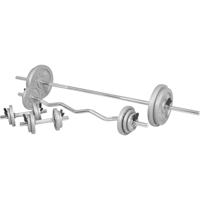 GORILLA SPORTS® Hantelset 108 kg Guss - Langhantel, SZ-Curlstange, Kurzhanteln, Gewichten und Federverschlüsse
