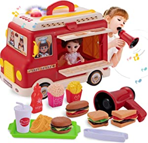 Tovol Zerky Food Truck Pretend Play Set for Kids 3 in 1 with Voice Changer Sound Light 14 PCS for Kid 3 Years +