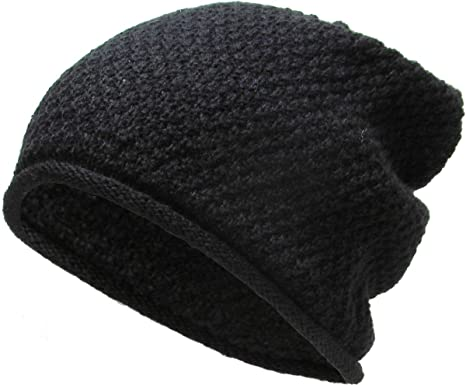 Amazon.com  Super Warm Wool Fell Short Ribbed Slouch Beanie Fur ... aacbd569e2b