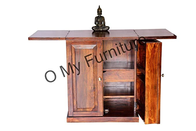 O My Furniture Compact Teak Finish Bar