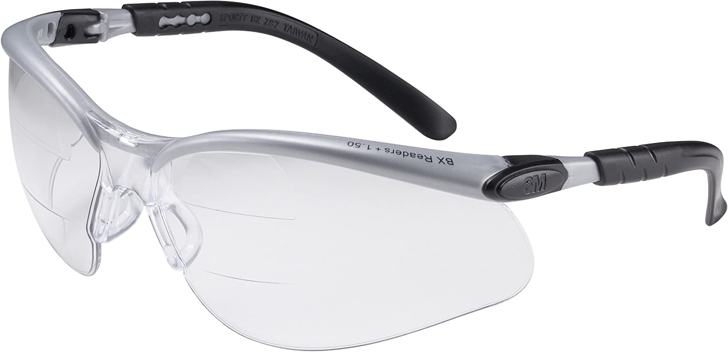 3M BX Dual Reader Protective Eyewear 11458-00000-20 Clear Anti-Fog Lens, Silver/Black Frame, +2.0 Top/Bottom Diopter