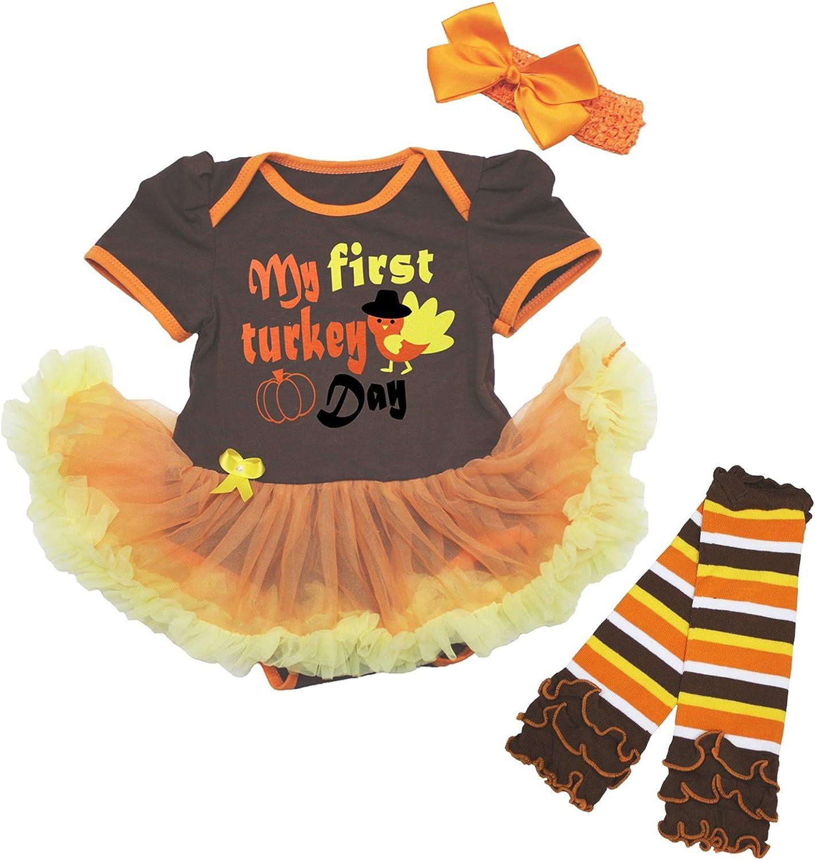 My First Thanksgiving Orange Bodysuit Brown Turkey Baby Dress Leg Warmer NB-18M