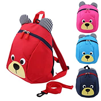 Zerodis Mochila para niños pequeños Mochila para niños anti-perdidos Mochilas escolares de jardín de infantes Cute Bear(Rojo): Amazon.es: Hogar