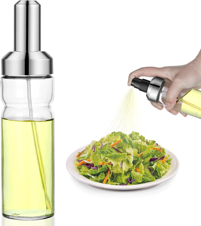 Creproly Oil Sprayer for Cooking, 180ml/6.08oz Olive Oil Spray Bottle Mister Glass Oil Dispenser Refillable Kitchen Vinegar Sprayer with Cap for Air Fryer BBQ Salad BPA Free (1pc)