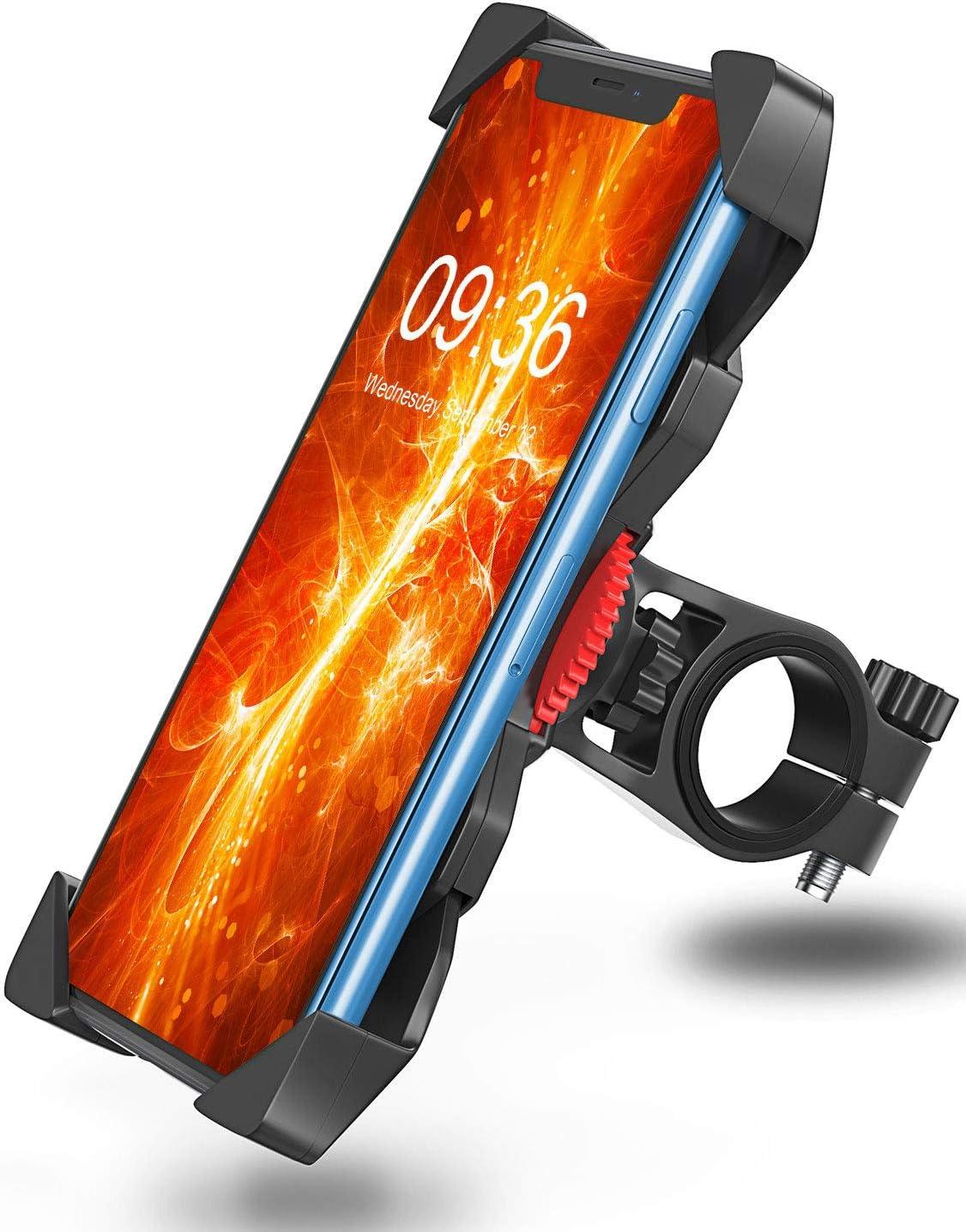 Bovon Soporte Movil Bicicleta, Anti Vibración Soporte Movil Bici Montaña con 360° Rotación para Moto Bici, Universal Manillar Compatible con iPhone 11 Pro Max/11 Pro/11/X/8, Samsung y 3.5