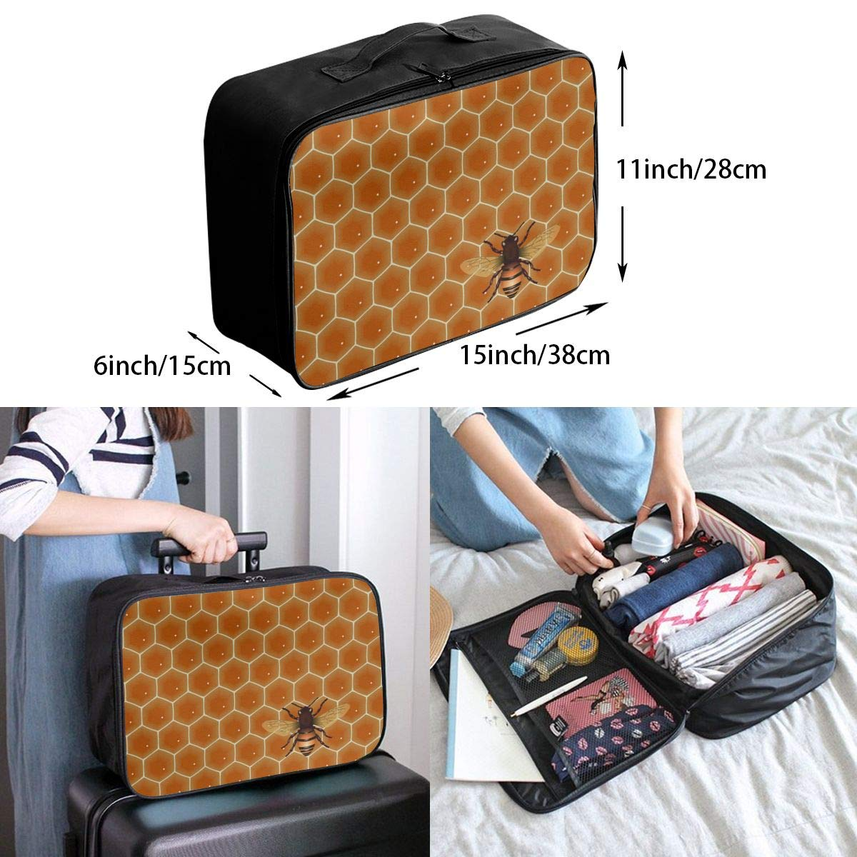 ADGAI Bees and Hive Canvas Travel Weekender Bag,Fashion Custom Lightweight Large Capacity Portable Luggage Bag,Suitcase Trolley Bag