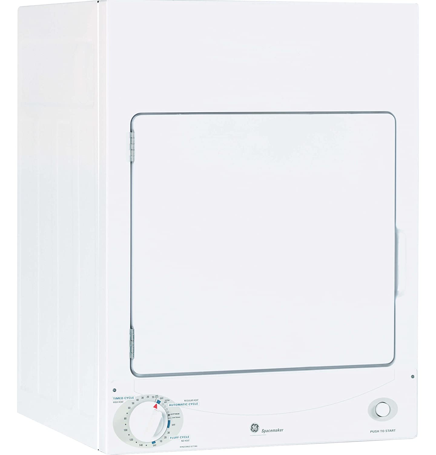 GE DSKS333ECWW Spacemaker 3.6 Cu. Ft. White Stackable Electric Dryer